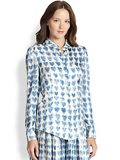 RED Valentino - Silk Heart-Print Blouse