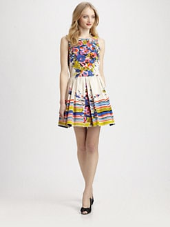 RED Valentino - Cotton Flower Bouquet-Print Dress