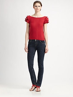 RED Valentino - Wave-Pattern Flutter-Sleeve Top