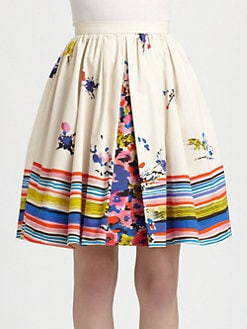 RED Valentino - Cotton Flower Bouquet-Print Skirt