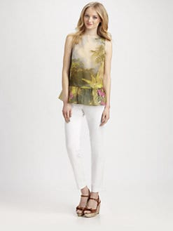 RED Valentino - Cotton/Silk Tropical-Print Blouse
