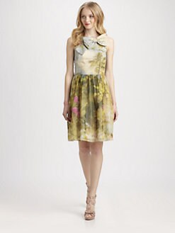 RED Valentino - Cotton/Silk Tropical-Print Bow Dress