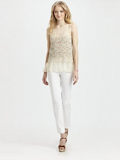RED Valentino - Silk Organza/Lace Top