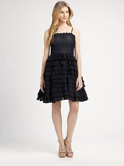 RED Valentino - Strapless Daisy Tiered-Organza-Skirt Dress