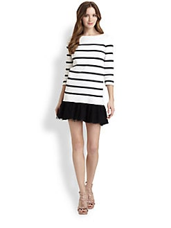 RED Valentino - Striped Top/Lace-Skirt Dress