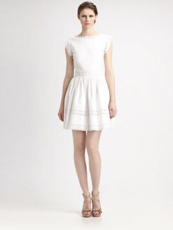 RED Valentino - Eyelet-Trim Poplin Dress