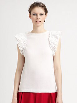RED Valentino - Sangallo Eyelet-Sleeve Top