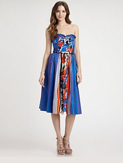 RED Valentino - Flower/Stripe Strapless Dress