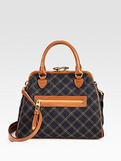Marc Jacobs - Mini Stam Quilted Denim & Leather Shoulder Bag