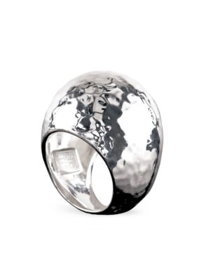 Classico Statement Sterling Silver Hammered Dome Ring