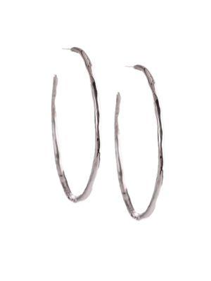 """Glamazon Sterling Silver Squiggle #3 Hoop Earrings/1.7"""""""
