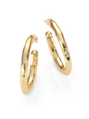 Classico Small 18K Yellow Gold Hammered Hoop Earrings