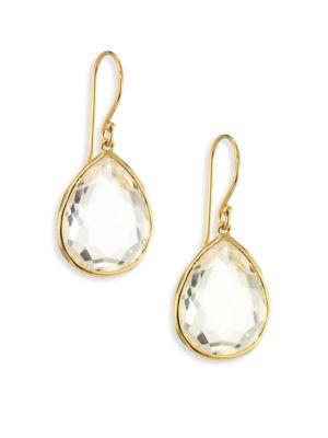 Rock Candy Gelato Clear Quartz & 18K Yellow Gold Medium Teardrop Earrings