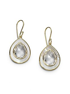 IPPOLITA - Clear Quartz & Mother-Of-Pearl Teardrop Earrings