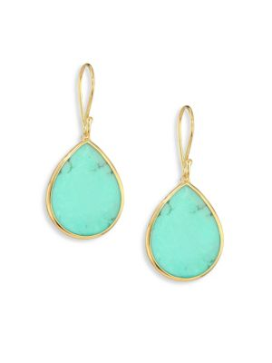 Polished Rock Candy Small 18K Yellow Gold & Turquoise Teardrop Earrings