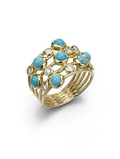 IPPOLITA - Diamond, Turquoise and 18K Yellow Gold Ring