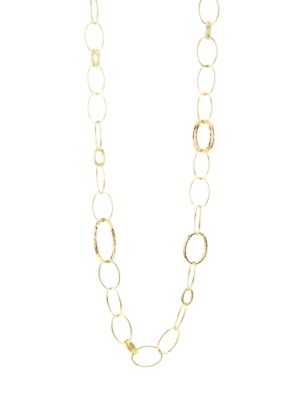 Classico Long 18K Yellow Gold Hammered Bastille Link Necklace
