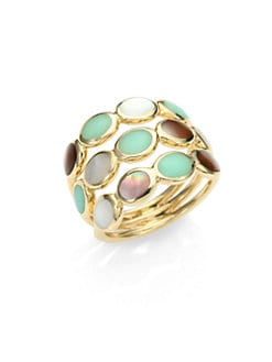 IPPOLITA - Semi-Precious Multi-Stone & 18K Gold Triple Row Ring/Chrysoprase