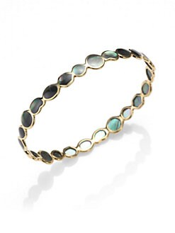 IPPOLITA - Black Shell & 18K Gold Bangle Bracelet