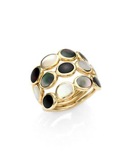 IPPOLITA - Semi-Precious Multi-Stone & 18K Gold Triple Row Ring/Black Onyx