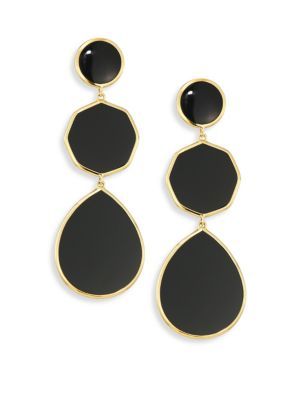Polished Rock Candy Black Onyx & 18K Yellow Gold Crazy 8s Drop Earrings