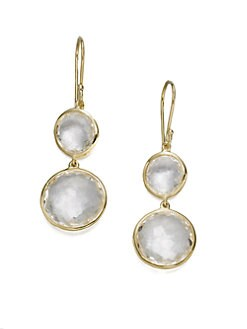 IPPOLITA - Clear Quartz & 18K Yellow Gold Double Drop Earrings