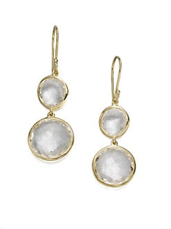IPPOLITA - Clear Quartz & 18K Gold Double Drop Earrings