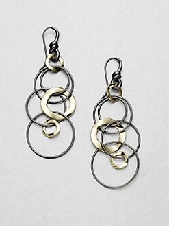 IPPOLITA - 18K Gold & Blackened Sterling Silver Long Link Earrings