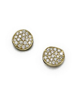 IPPOLITA - 18K Yellow Gold Diamond Button Earrings/Small