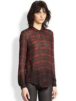 The Kooples - Cotton & Silk Plaid Shirt