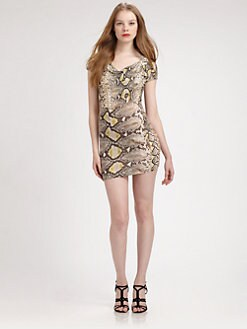 Just Cavalli - Cowlneck Python-Print Dress