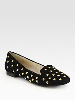 MICHAEL MICHAEL KORS - Aria Studded Suede Smoking Slippers