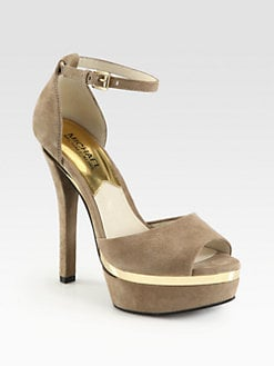 MICHAEL MICHAEL KORS - Axton Suede Metal-Trimmed Platform Sandals