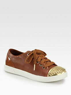 MICHAEL MICHAEL KORS - Studded Leather Lace-Up Sneakers