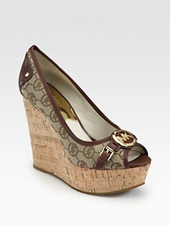 MICHAEL MICHAEL KORS - Rustin Jacquard & Leather Cork Wedge Pumps