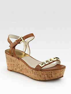 MICHAEL MICHAEL KORS - Persia Studded Leather Cork Wedge Sandals