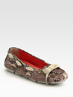 Aquatalia by Marvin K - Adrianne Python & Suede Lace-Up Moccasins
