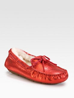 UGG Australia - Dakota Textured Metallic Suede Lace-Up Slippers