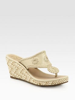 Jack Rogers - Marabella Leather & Raffia Wedge Sandals