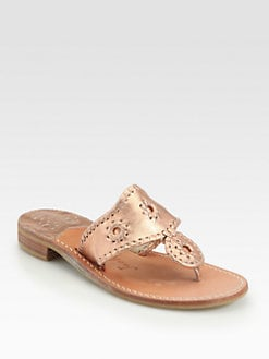 Jack Rogers - Metallic Leather Hamptons Thong Sandals