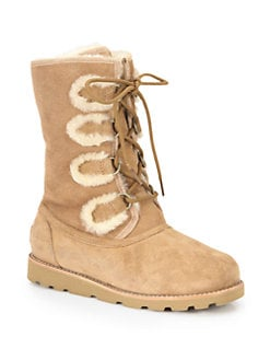 UGG Australia - Rommy Suede and Shearling Lace-Up Mid-Calf Boots