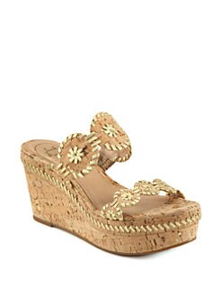 Jack Rogers - Leigh Cork & Metallic Leather Wedge Sandals