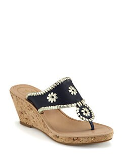 Jack Rogers - Marbella Metallic Leather Cork Wedge Sandals