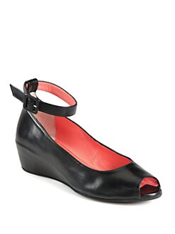 Aquatalia by Marvin K - Ursula Leather Ankle Strap Wedge Pumps