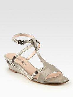 Aquatalia by Marvin K - Fiorella Python & Patent Leather Wedge Sandals