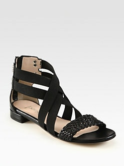 Aquatalia by Marvin K - Mara Crisscross Braided Leather Sandals