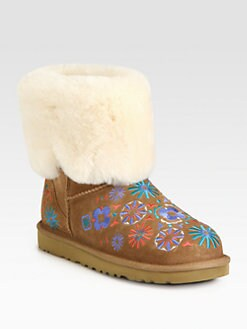 UGG Australia - Embroidered Suede Fold-Over Boots