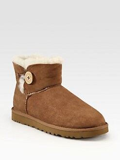UGG Australia - Mini Bailey Button Suede Shearling-Lined Boots