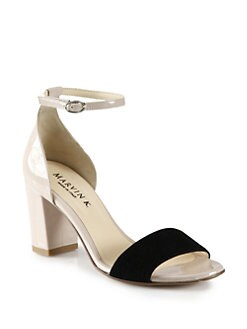 Marvin K - Ideal Patent Leather & Suede Ankle Strap Sandals