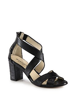 Marvin K - Inca Embossed Leather Sandals